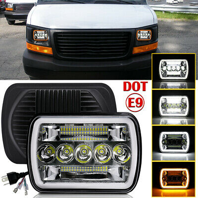 "7x6"" 5X7 LED Headlight Hi-Lo Halo DRL For Chevy Express Cargo Van 1500 2500 3500"