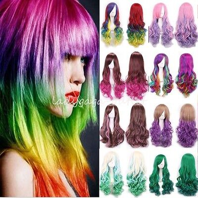 Pastel Rainbow Wig (Rainbow Ombre Hair Wig Long Curly Wavy Women Lady Pastel Cosplay Dress Full)