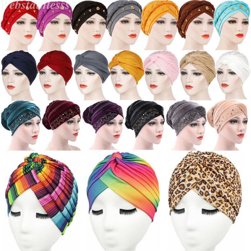 Women Muslim Hijab Cotton Stretchy Hat Turban Head Wrap Chemo Bandana Scarf Cap