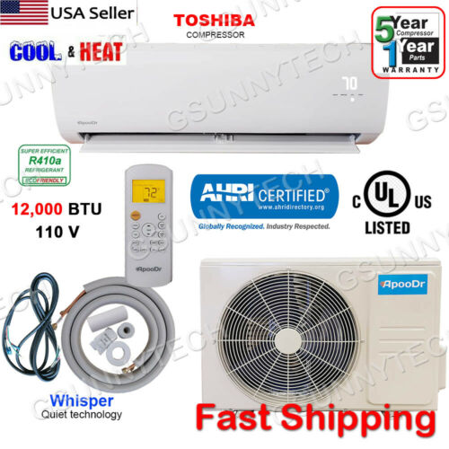 12,000 BTU Mini Split 16.5 SEER INVERTER Ductless Air Conditioner Heat Pump 110V