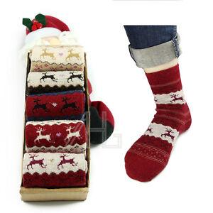 5 Pairs Women Ladies Thick Winter Socks Warm Wool Christmas Nordic Novelty Sock