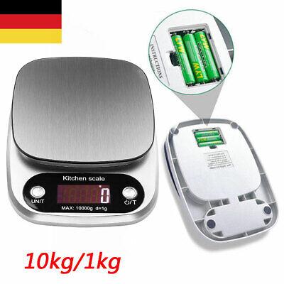 Digitale Küchenwaage Feinwaage Edelstahl Haushaltswaage Kitchen Scale 10kg/1g DE Küchenwaage