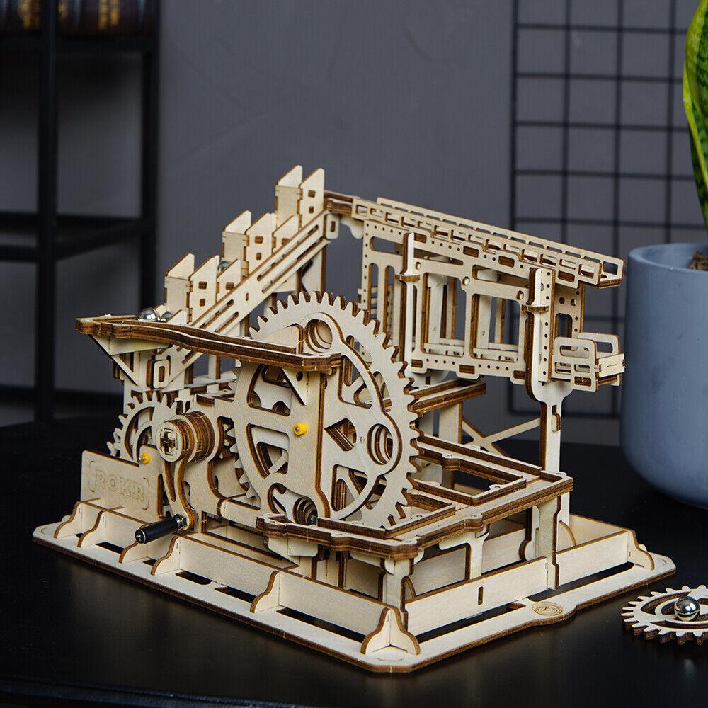 ROKR Holz Kugelbahn Zahnrad Modellbau Kits Set DIY Spielzeug Geschenk für Jugend