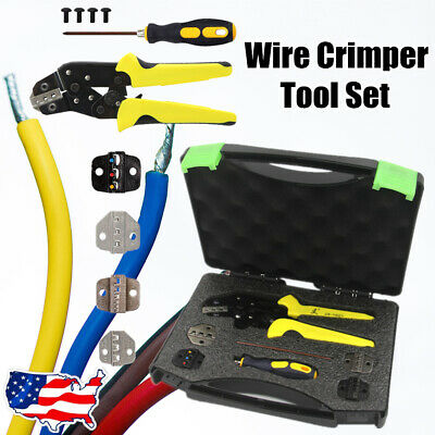 5 In 1 New Cable Wire Crimper Pliers Ratcheting Terminal Crimping Tool Kit Set