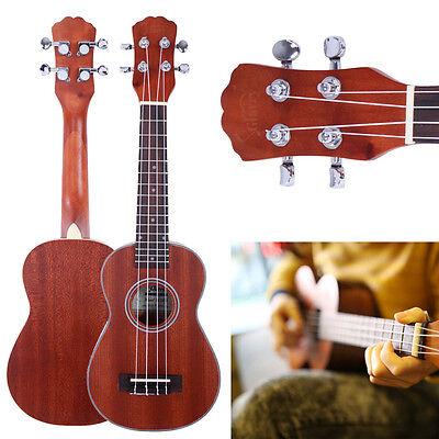 """New 21"""" UK-203 Soprano Ukulele Hawaiian Guitar 4-String Instrument Sapele Wood"""