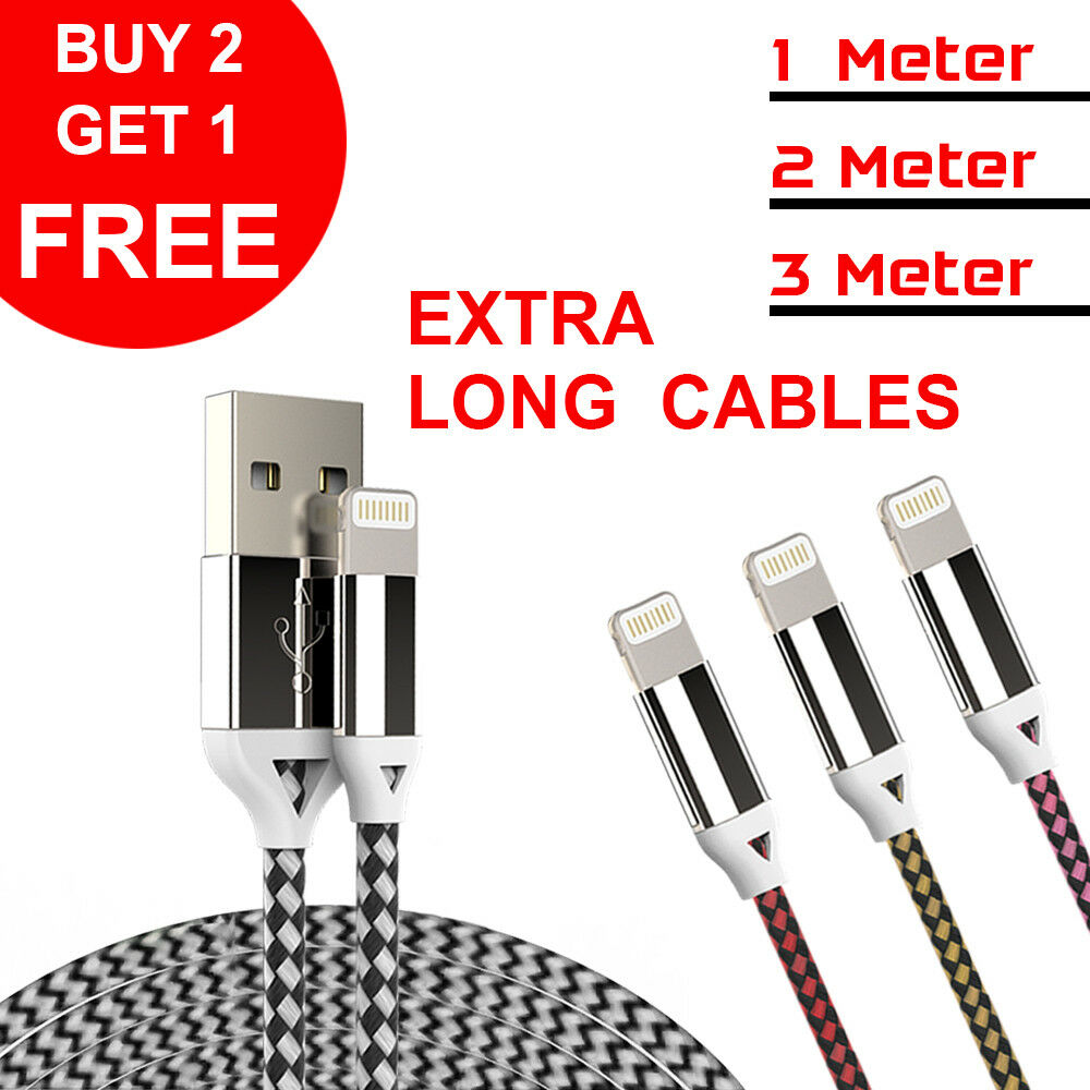 Heavy Duty Braided Lightning USB Charger Cable 1M 2M 3M For