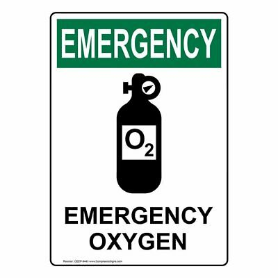 Compliancesigns Vertical Aluminum Osha Emergency Emergency Oxygen Sign 14 X...