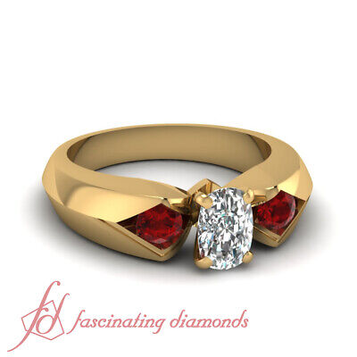 1.30 Ct Three Stone Womens Diamond Rings With Cushion Cut And Ruby Gemstone GIA