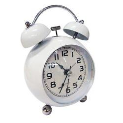 Alarm Clock Twin Bell Vintage Quiet Quartz Retro Classic Night Light Extra Loud