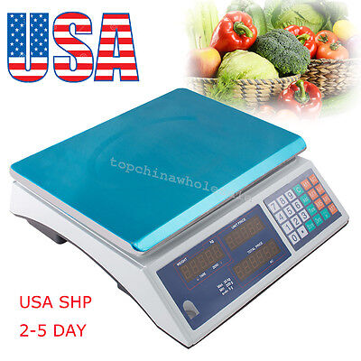 Us Stock30kg Digital Weight Scale Price Computing Fruit Meat Produce Deli Store