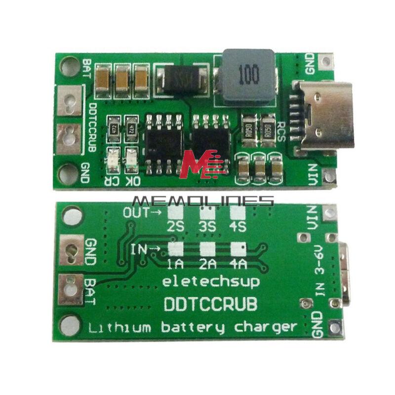 Dc3-6v To 8.4/12.6/16.8v 1-4a Boost 18650 Li-ion Battery Charger 2s 3s 4s Type-c