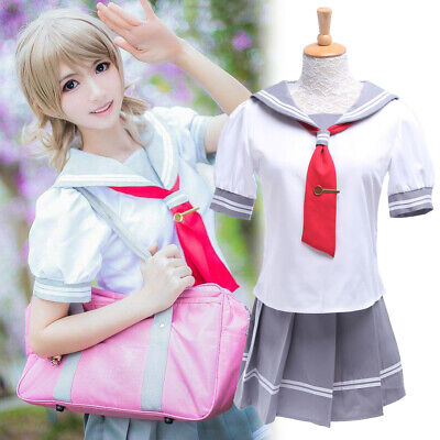 LoveLive Sunshine Aqours Ruby Hanamaru Sailor School Uniform Cosplay Costume (Womans Sailor Costume)