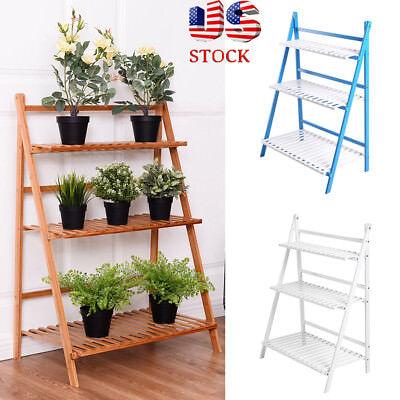 3 Tier Plant Stands - 3 Tier Wooden Shelf Bamboo Flower Pot Plant Stand Display Indoor Outdoor Garden