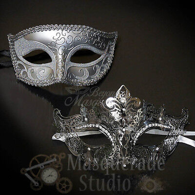 Couples Silver Charming and Silver Luxury Costume Party Masquerade Masks Set (Couples Costume)
