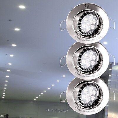 3er Set LED Einbau Spots rund Möbel Decken Strahler silber verstellbar IP23