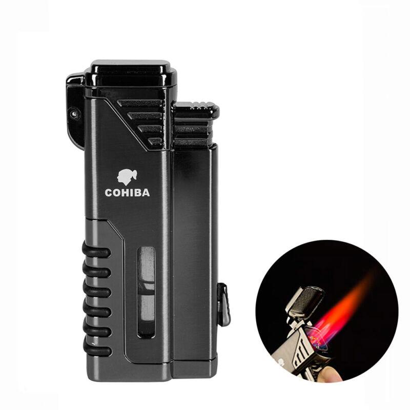COHIBA Windproof Metal 4 Torch Jet Flame Cigar Lighter Butane Refillable Punch