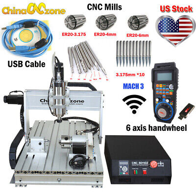 Cnc 6040 4axis 2200w Router Mach3 Usb Engraving Cuttingmilling Machine Us Stock
