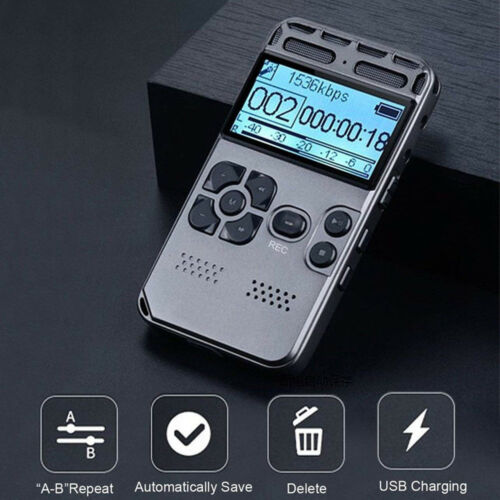 64GB Rechargeable LCD Digital Audio Sound Voice Recorder Dictaphone MP3 Player Business & Industrial