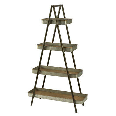 4 Tier Industrial Ladder Display 65.25 H Inches With Metal Tray Wood Shelves