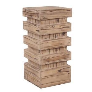 Howard Elliott Stepped Natural Wood Pedestal. 12 x 12 x 24inch. NEW