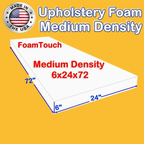 "Medium Density Foamtouch Upholstery Foam Cushion Replacement Size 6"" X 24"" X 72"""