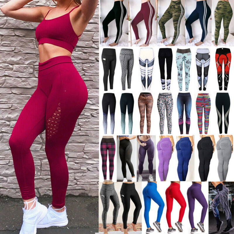Women Sexy PU Leather Yoga Pants Hip Push Up Workout Stretch Leggings Trousers 9