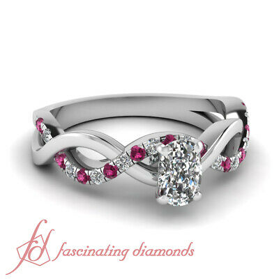 .70 TCW. Cushion Cut Diamond & Pink Sapphire Engagement Ring Solid 14K Gold GIA