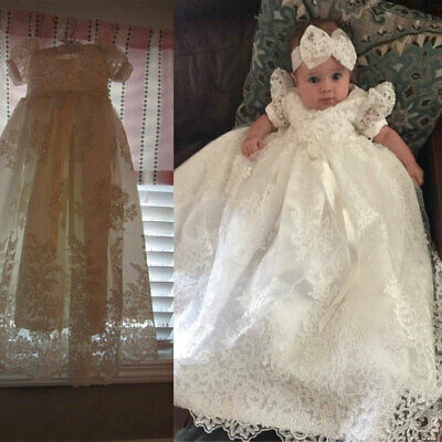 White Ivory Baby Infant Toddler Christening Dresses for Girls Baptism - Ivory Dresses For Toddlers