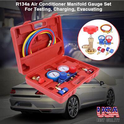 New 12pcs Manifold Vacuum Dual Gauge Set R134a Ac Ac Hvac Refrigeration Kit Us
