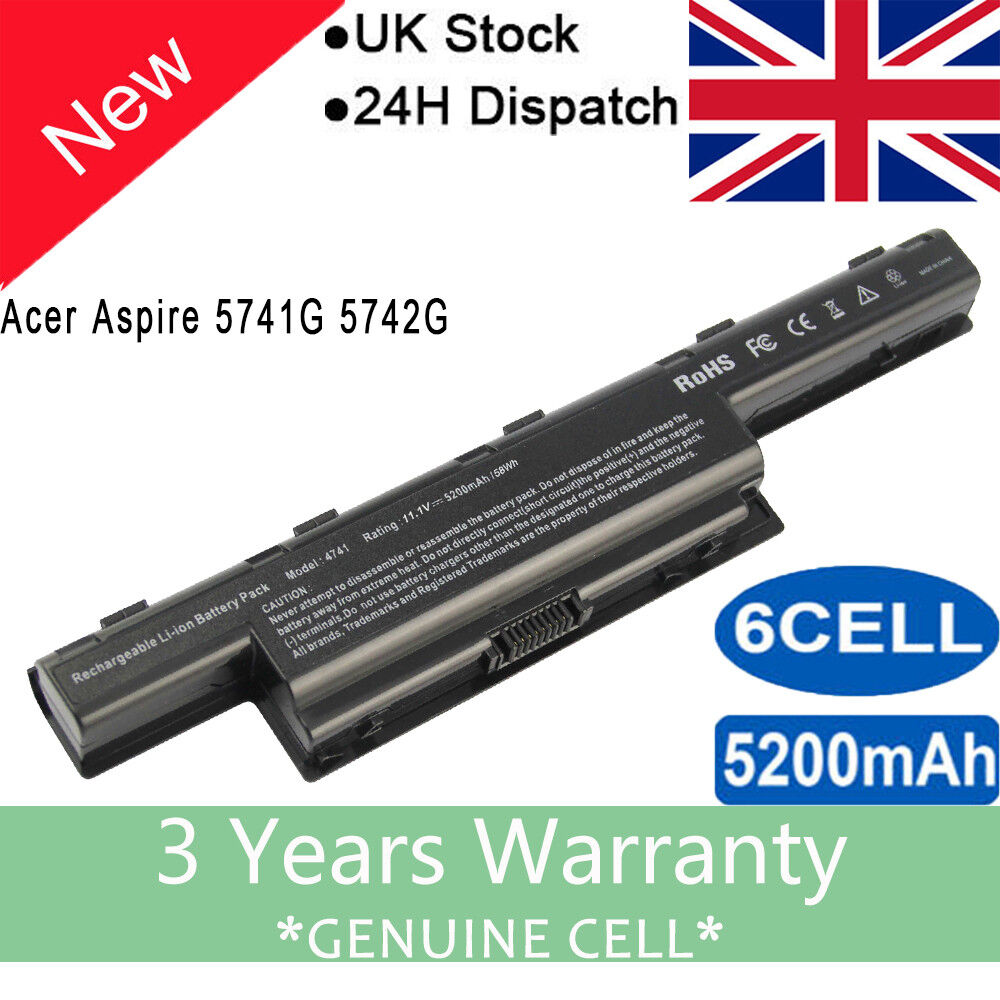 Image of Laptop Battery For Acer Aspire 4551 4741 5741 5551 5742z 5750 As10d31 As10d51 Uk
