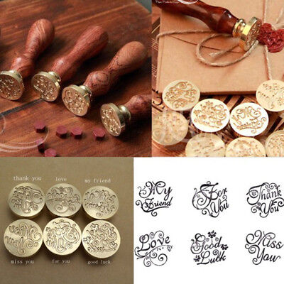 Retro Classic Initial Wax Seal Stamp Envelope Wood Stamping Kit Craft Gifts