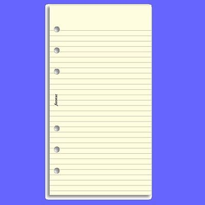 Personal Ruled Notepaper - Filofax Personal Cotton Cream Ruled Notepaper Insert 133053 Refill 95 x 171mm