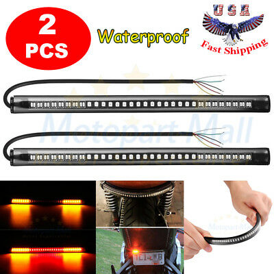 2x 8'' Motorcycle 48 LED Integrated Brake Stop Turn Signal Tail Light Strips Bar for sale  USA