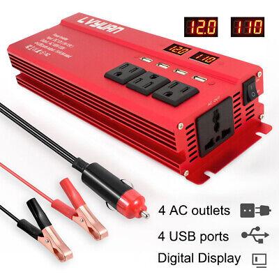 5000w Peak Car Vehicle Power Inverter Converter DC 12v to AC 110v 4 socket 4 USB 12v Ac Power Socket