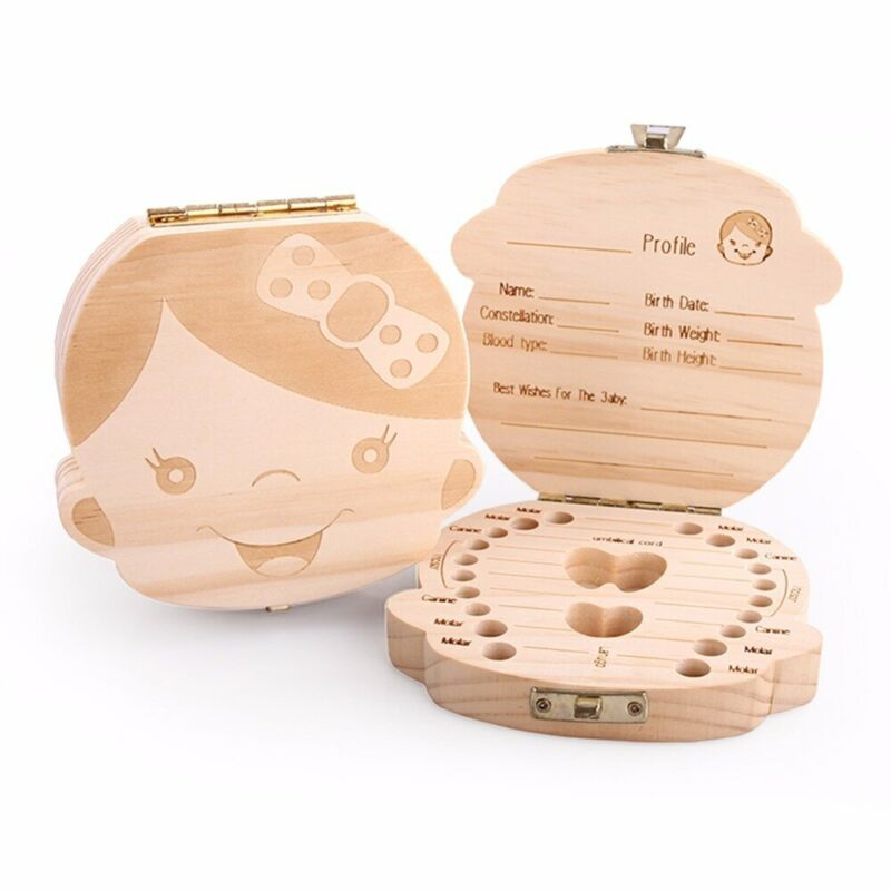 Baby Tooth Storage Box Organizer Wooden Teeth Save Case Container Collection