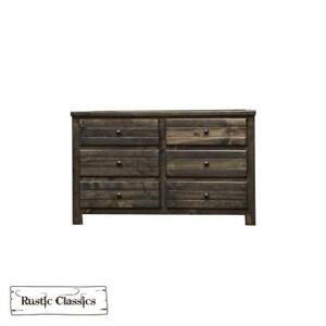 Brand New! Pine 6 Drawer Dresser in Rustic Grey! FREE delivery in Montreal!