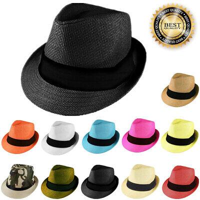 - Gelante Mens Womens Summer Sun Trilby Fedora Panama Straw Hats Cap With Band