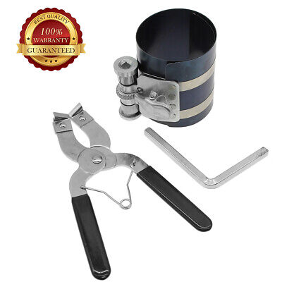 Ring Installation Tools - 2set Durable Ratchet Style Piston Ring Compressor & Installer Pliers Engine Tool