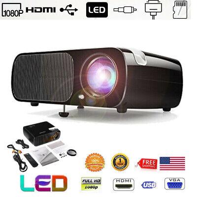 7000 Lums Portable Mini Projector HD 1080P Home Theater Cinema USB VGA SD AV HT