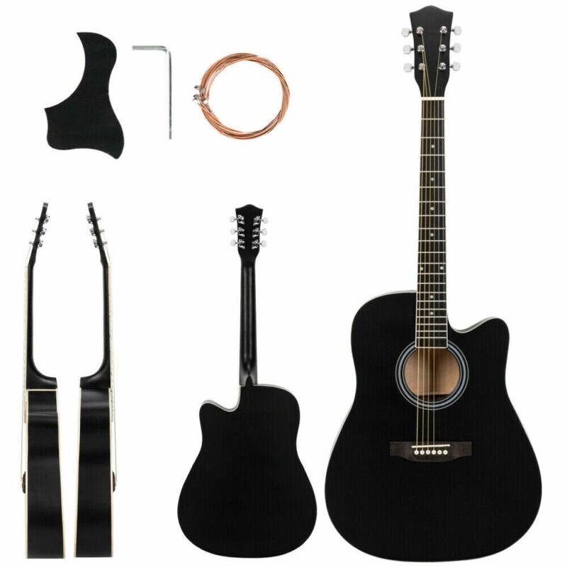 """New 41"""" Adult Cutaway Folk Acoustic Guitar w/Bag Board Tool Black"""