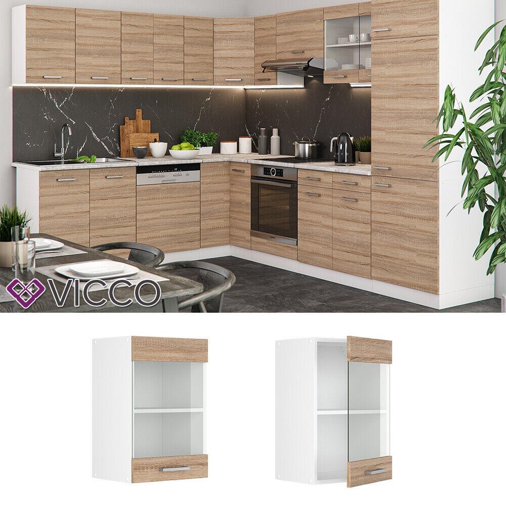 VICCO Küchenschrank Hängeschrank Unterschrank Küchenzeile R-Line Hängeglasschrank 40 cm sonoma