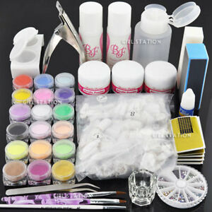 Bf diy acrylic glitter powder glue file nail art uv gel for Acrylic nail decoration supplies