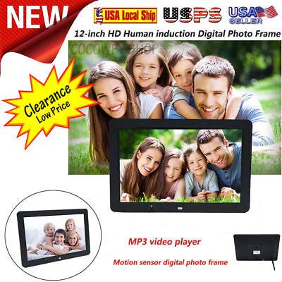 12Inch HD USB LED Motion Sensor Digital Photo Frame Rmote Control MP3 Player US