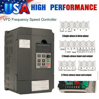 Single To 3 Phase 2.2kw 2hp 220v 12a Variable Frequency Drive Inverter Vfd E2e0