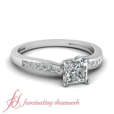 1/2 Ct Channel Set Princess Cut Platinum Diamond Engagement Ring GIA Certified