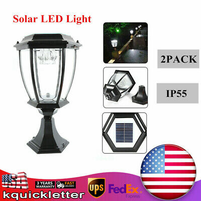 Outdoor Solar Powered LED Pillar Light Garden Yard Lanterm Post Lamp