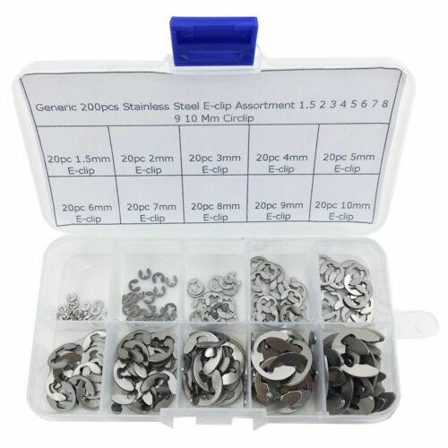 200Pcs Stainless Steel E-Clip Assortment Kit 1.5 2 3 4 5 6 7 8 9 10 mm