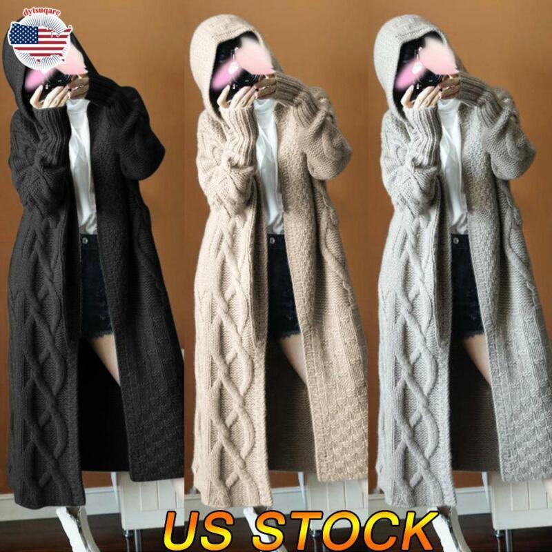 Women Long Sleeve Knit Cardigan Sweater Hooded Outwear Coat Jacket Warm Overcoat