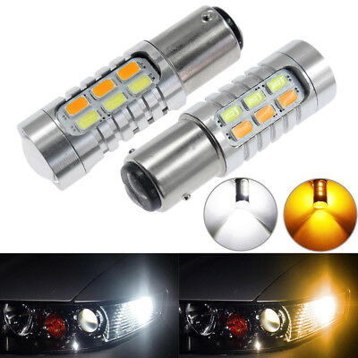 2x Best 1157 Dual Color 5730 6000K 22SMD White/Amber LED Turn Signal Light