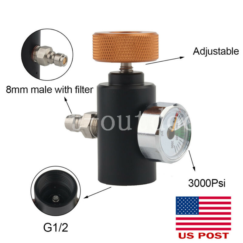 PCP ON OFF Adapter ASA For Remote Hose Tank Air Filling Valve w/3000psi Guage